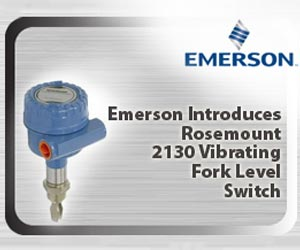 Emerson introduces Rosemount 2130 vibrating fork level switch